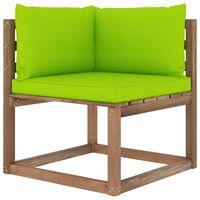 vidaXL Canapé d'angle palette de jardin avec coussins vert vif
