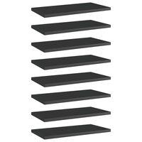 vidaXL Panneaux bibliothèque 8pcs Noir brillant 40x20x1,5cm Aggloméré