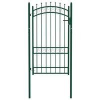 vidaXL Portail de clôture avec pointes Acier 100x175 cm Vert
