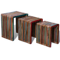 vidaXL Table gigogne 3 pcs Teck recyclé coloré