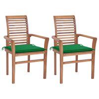 vidaXL Chaises à dîner 2 pcs avec coussins vert Bois de teck massif
