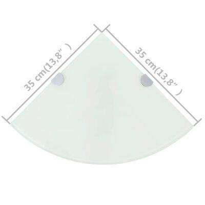 vidaXL Étagères d'angle 2 pcs et supports chromés Verre Blanc 35x35 cm