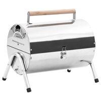 vidaXL Barbecue au charbon portable Acier inoxydable Grilles doubles