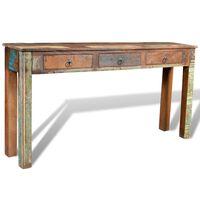 vidaXL Table console avec 3 tiroirs Bois recyclé