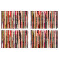 vidaXL Napperons 4 pcs Chindi Plain Multicolore 30 x 45 cm Coton