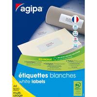 Etiquettes blanches 500 feuilles A4 7x3,5cm 12 000 pièces - APLI AGIPA
