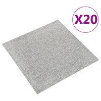 vidaXL Dalles de tapis de sol 20 pcs 5 m² 50x50 cm Gris clair
