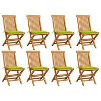 vidaXL Chaises de jardin avec coussins vert vif 8 pcs Teck massif