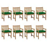 vidaXL Chaises de jardin 8 pcs avec coussins vert Bois de teck solide