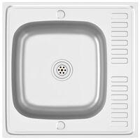 vidaXL Jeu d'évier de cuisine et égouttoir Argenté 600x600x155 mm Inox
