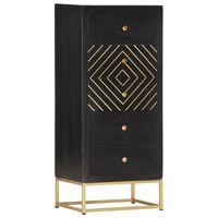 vidaXL Armoire à tiroirs Noir et doré 45x30x105 cm Bois de manguier