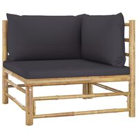 vidaXL Canapé d'angle de jardin avec coussins gris foncé Bambou