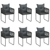vidaXL Chaises d'extérieur 6 pcs avec oreillers Résine tressée Noir
