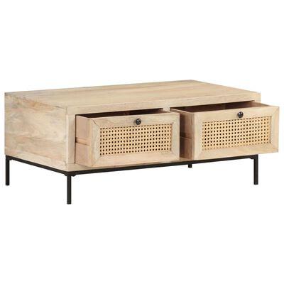 vidaXL Table basse 90x50x37 cm Bois de manguier et canne naturelle