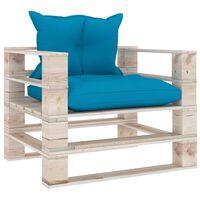 vidaXL Canapé palette de jardin avec coussins bleu Bois de pin