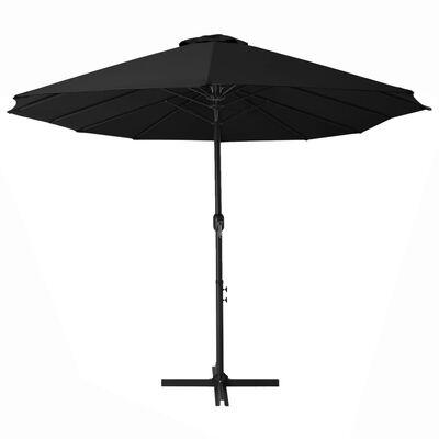 vidaXL Parasol d'extérieur et poteau en aluminium 460 x 270 cm Noir