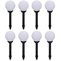 vidaXL 8 pcs Lampes d'allée d'extérieur à LED 15 cm et piquet au sol