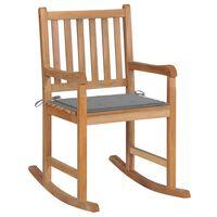 vidaXL Chaise à bascule avec coussin gris Bois de teck solide
