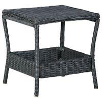 vidaXL Table de jardin Gris foncé 45x45x46,5 cm Résine tressée