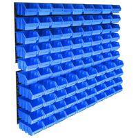 vidaXL Kit de bacs de stockage avec panneaux muraux 96 pcs Bleu
