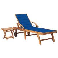 vidaXL Chaise longue avec table et coussin Bois de teck solide