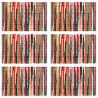 vidaXL Napperons 6 pcs Chindi Plain Multicolore 30 x 45 cm Coton