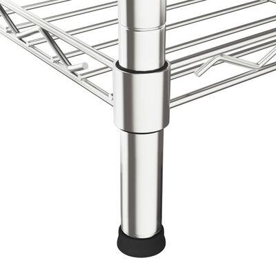 vidaXL Étagère 4 niveaux de four à micro-ondes 90x35x150cm  Fer chromé