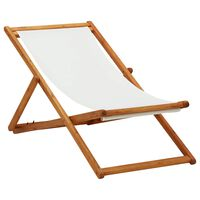 vidaXL Chaise pliable de plage Bois d'eucalyptus et tissu Blanc crème
