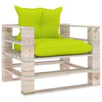 vidaXL Canapé palette de jardin avec coussins vert vif Bois de pin