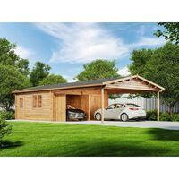 Alpholz Garage double avec carport modèle falun-44 iso