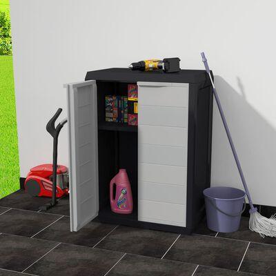 vidaXL Armoire de rangement de jardin avec 1 étagère Noir et gris