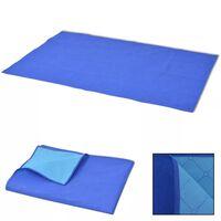 vidaXL Couverture de pique-nique Bleu et bleu clair 100 x 150 cm