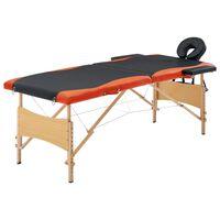 vidaXL Table de massage pliable 2 zones Bois Noir et orange