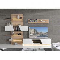 Ensemble meuble TV paroi murale bla...clair avec LED - NOVA