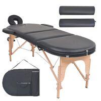 vidaXL Table de massage pliable 4 cm d'épaisseur et 2 traversins Noir