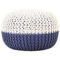 vidaXL Pouf tricoté à la main Bleu et blanc 50 x 35 cm Coton