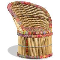 vidaXL Chaise en bambou avec détails chindi