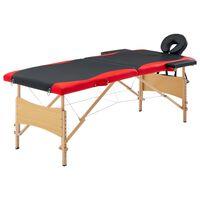 vidaXL Table de massage pliable 2 zones Bois Noir et rouge