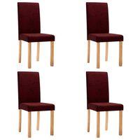vidaXL Chaises de salle à manger 4 pcs Rouge bordeaux Tissu