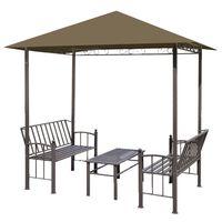 vidaXL Pavillon de jardin et table et bancs 2,5x1,5x2,4m Taupe 180g/m²