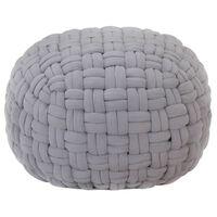 vidaXL Pouf Design tressé Gris 50x35 cm Coton