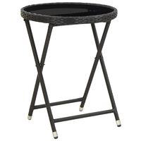 vidaXL Table à thé Noir 60 cm Résine tressée et verre trempé