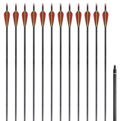 """12 flèches standard en carbone 30"""" 0,76 cm pour arc classique"""