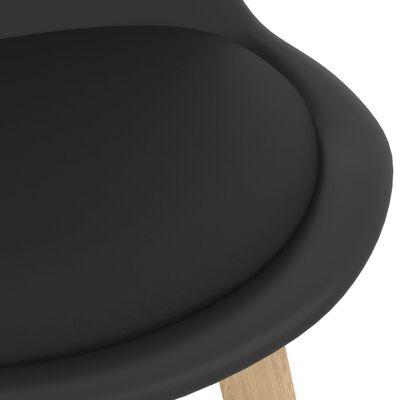 vidaXL Tabourets de bar 4 pcs Noir PP et bois de hêtre massif