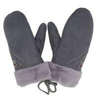 Gants d'hiver chauds en imitation daim pour enfants Gris