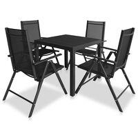vidaXL Mobilier à dîner d'extérieur 9 pcs Aluminium et WPC Noir