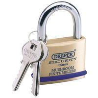 Draper Tools Cadenas avec 2 clés Laiton massif 50 mm 64162