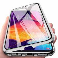 Coque magnétique Samsung Galaxy A50 avec protecteur d'écran - argent
