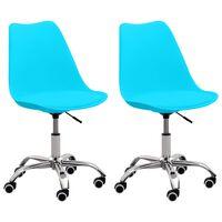 vidaXL Chaises de bureau 2 pcs Bleu Similicuir