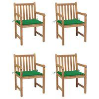 vidaXL Chaises de jardin 4 pcs avec coussins vert Bois de teck solide